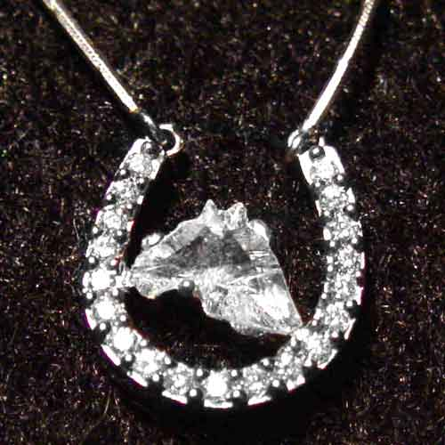 Galloping gems product detail platinum and diamond horseshoe necklace with horse head cut diamond in cent aloadofball Image collections