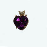 14 kt.y.g. heart shaped Amethyst and diamond pendant